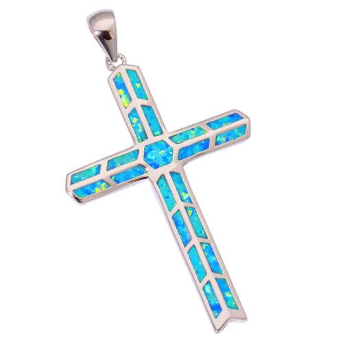 "Hot Sell Blue Fire Opal Women Fashion Jewelry Gemstone Silver Pendant 2/"" OD4119"