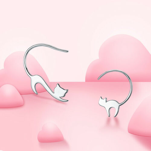 925 Silver Cute Napping Little Cat Drop Earrings Women Ear Stud Jewelry Gifts