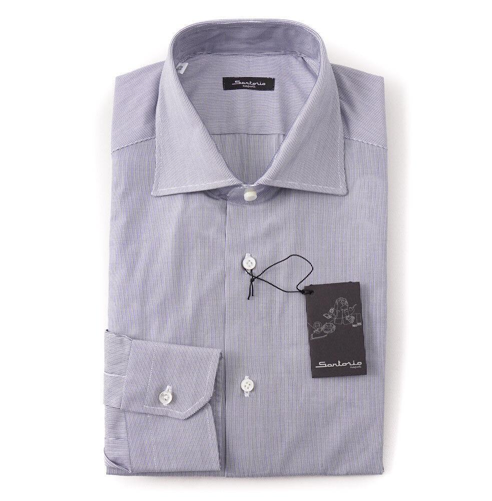 NWT  395 SARTORIO NAPOLI Navy Blau Micro Stripe Dress hemd 17.5 x 37 Slim-Fit