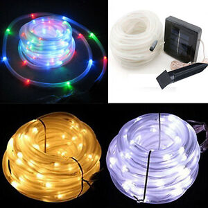 Led Solar Power 16ft 50leds Rope Tube Lights String Strip