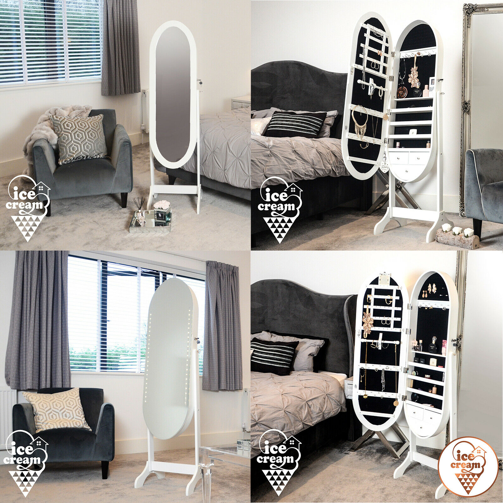 Standing Oval Mirror Jewellery Storage Cabinet with Drawers LED Lights Makeup