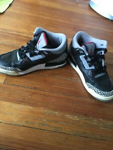 buy online 4631f 45bba Details about Air Jordan Retro III Black Cement 3 Grey White Fire Red  398614-010 Sz 6.5