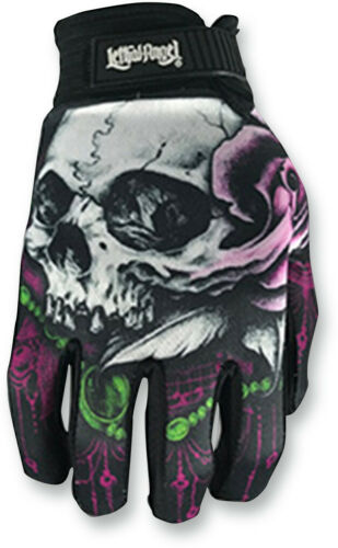 Lethal Threat Womens Motorcycle Skull Gloves Black S-XL