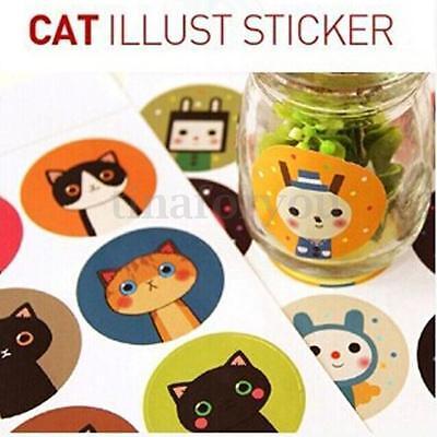 4 pcs of 36 Korea Cute Cat Round Waterproof Sealing Diary Book Album Stickers