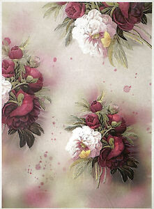 Rice Paper for Decoupage Decopatch Scrapbook Craft Sheet Red and White Peony