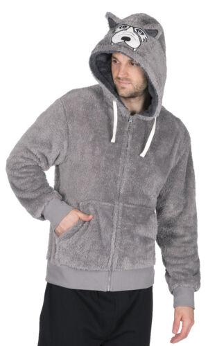 Da Uomo in pile con cappuccio Giacca Letto Snuggle Top Divertente Novità Animale Designs con zip