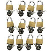 12 x Brass Padlock With 2 Keys 20mm Suitcase Sport Bags Luggage Cupboard Locker
