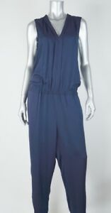023e1315 TOMMY HILFIGER New Womens Navy Blue Jumpsuit Rayon Zip Front MSRP ...