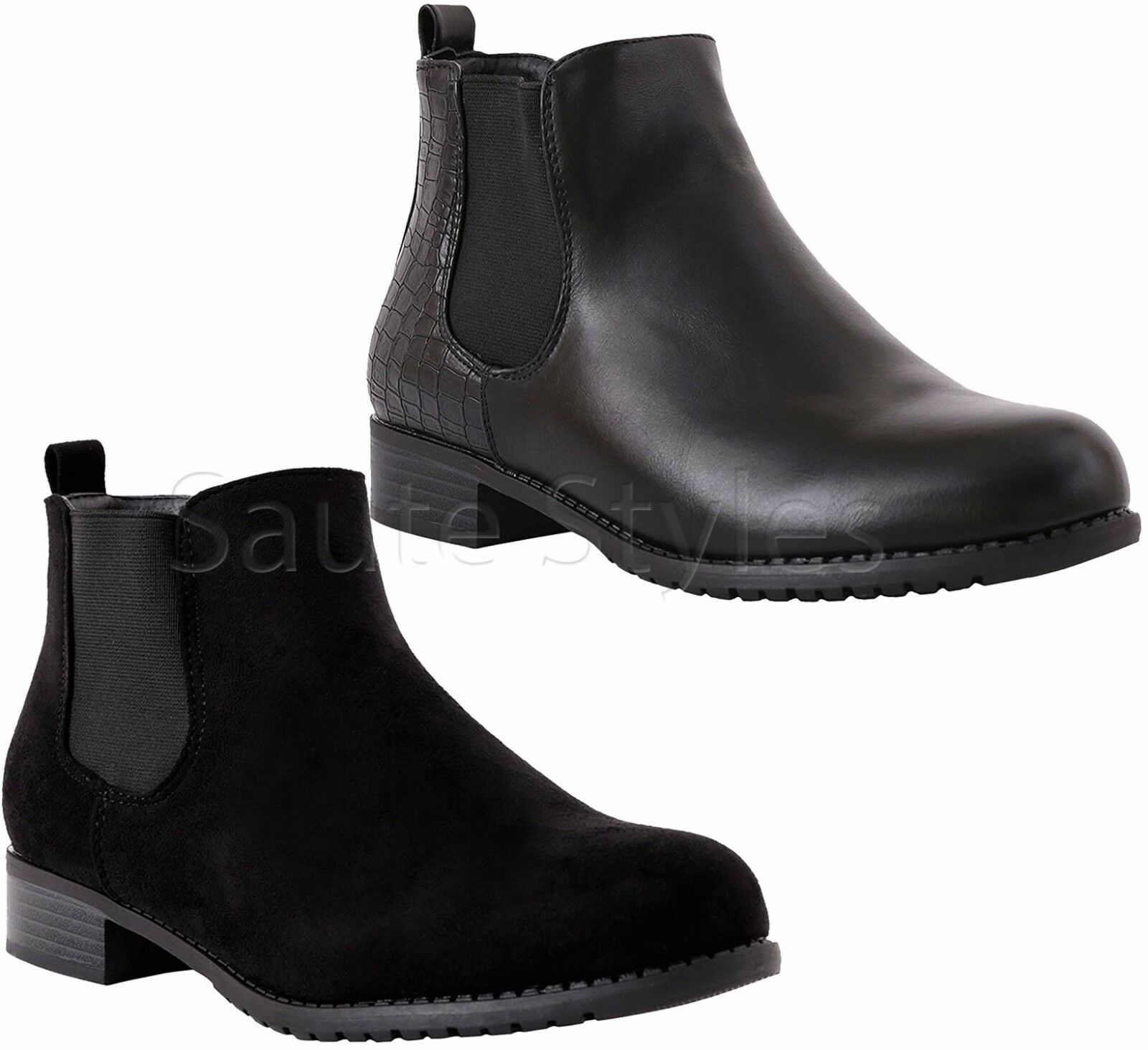 Ladies Womens Flat Block Heels Chelsea School Ankle Size Boots Work Office Shoes Size Ankle 889fe5