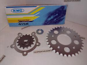 Kreidler Florett K54 RM LF LH GT Kettensatz Kette 415 Ritzel Kettenrad 14//33 NEW