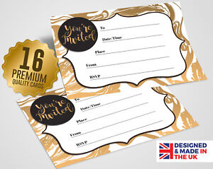 Details About White Gold Party Invitations 16 A6 Cards Party Social Event Invites