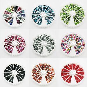 Nail-Art-Strass-RUOTA-sort-Astuccio-rotondo-1500-acrilico-a-fondo-piatto-3mm