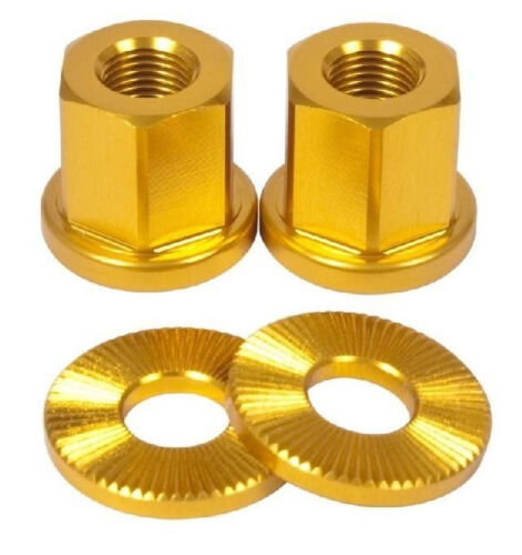 2 x SHADOW CONSPIRACY BMX BICYCLE AXLE NUTS WASHERS 14mm SUBROSA HARO SE GOLD