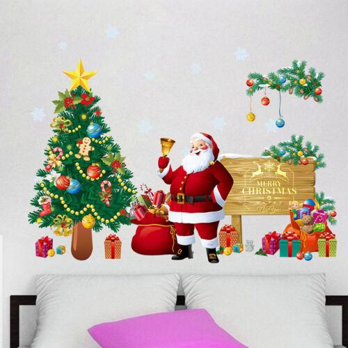 Christmas Santa Tree Wall Stickers Art Decals Xmas Home Window Removable Decor