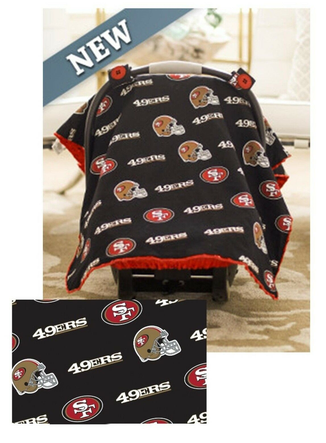 83053ac4163 NFL Licensed 5pc Whole Caboodle San Francisco 49ers Infant Car Seat ...