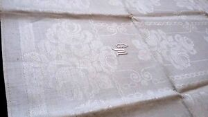 old unused linen damask Towel / Runner beautiful roses design