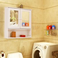 Home Bathroom Wall Cabinet With Double Mirror Doors Storage Mdf Wood Toiletries