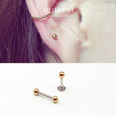 16g 3 4mm Gold Cartilage Earring Tragus Conch Helix Earrings Labret Studs 1pc Ebay