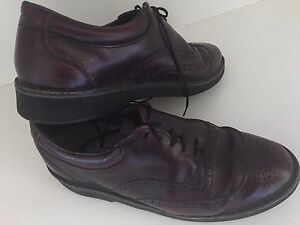VTG-LL-Bean-Men-s-Leather-Shoes-Wing-Tips-7-5-Burgundy-Lace-Up-Wingtip-USA
