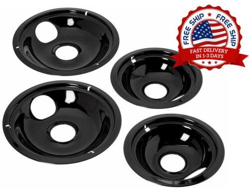 """2X6/"""" 2X8/"""" Black Porcelain Electric Stove Drip Pans 4-Set Porcelana negra"""