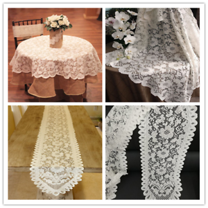 White-Vintage-Lace-Tablecloth-Floral-Table-Runner-Cloth-Cover-Wedding-Party