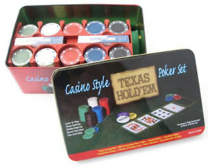 200-chips-Texas-hold-039-em-Kit-CARTE-POKER-FICHES-Gettoni-Tappeto-Verde-CASINO-039