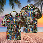 Life Of Jesus Stained Glass Unisex Hawaiian Shirt Full Size S-5XL