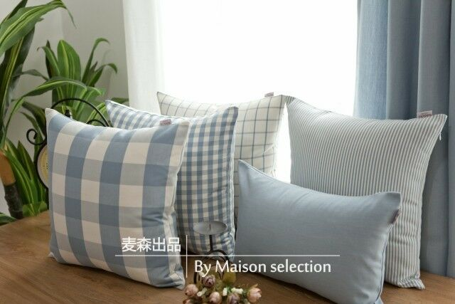 French Country Pastoral Check Stripe Blue Sofa Throw Pillow Cushion Cover I