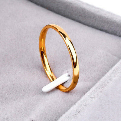 18K yellow gold plated plain classic 2mm thin engagement wedding ring US size 7