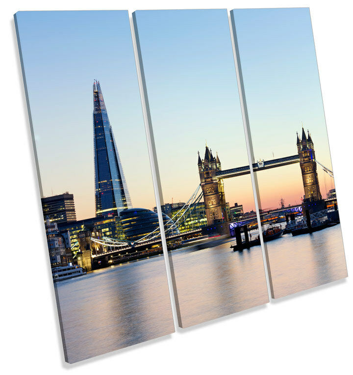 Tower Bridge London Shard Building CANVAS WALL ART Square Print Treble Picture