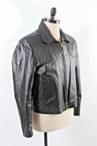 VTG 70s SEARS Black Leather Bomber Coat Jacket Men