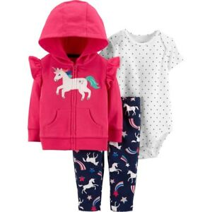 664faf2af Carter's Unicorn Jacket Bodysuit Pants Set Baby Girls 9 12 18 months ...
