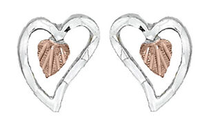 Dakota-Black-Hills-Gold-amp-Silver-Heart-Stud-Earrings-Hypoallergenic-GSE-015-W