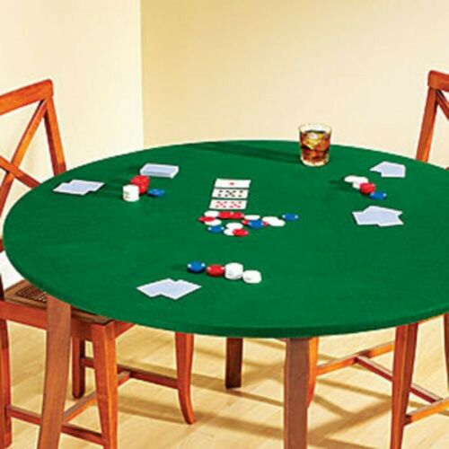 Fitted Round Elastic Edge Solid Green Felt Table Cover for Poker Puzzles Boar...