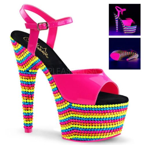 Table Sandal 709rbs Pink Lacquer Uv Pleaser Top Dance Adore Multicolor Platform Uzww7ft