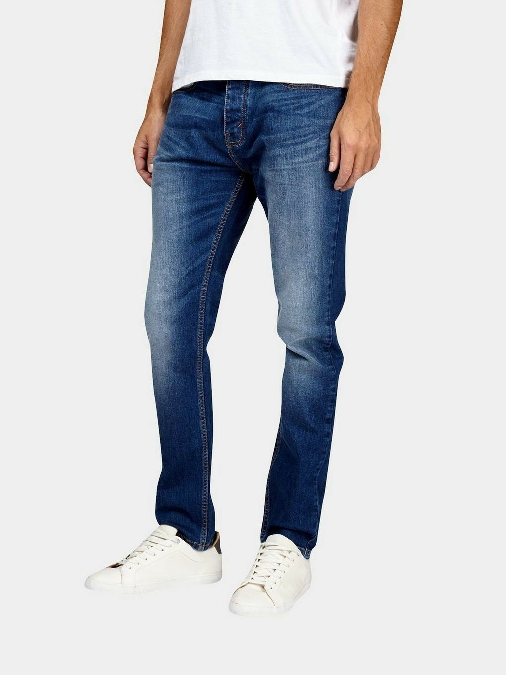 Burton Menswear - Mid bluee Wash Stretch Carter Tapered Fit Jeans, 32S, Brand New