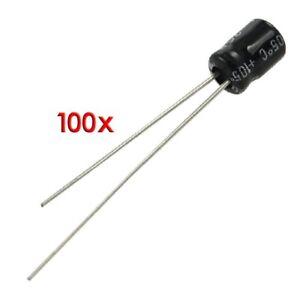 100-piezas-4-x-5mm-10uF-25V-Condensadores-electroliticos-de-aluminio-U8S2