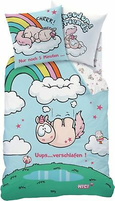 Bettwäsche 80/80 Cm 100% Baumwolle Nici Theodor & Friends Einhorn Bettwäsche Uups 135/200
