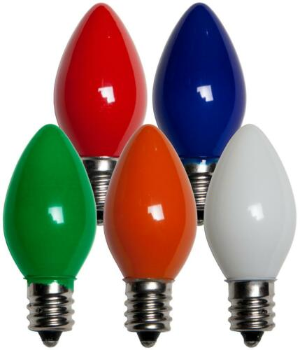 Box of 25 C7 Solid Multicolor Frosted Opaque Indoor//Outdoor Christmas Bulbs