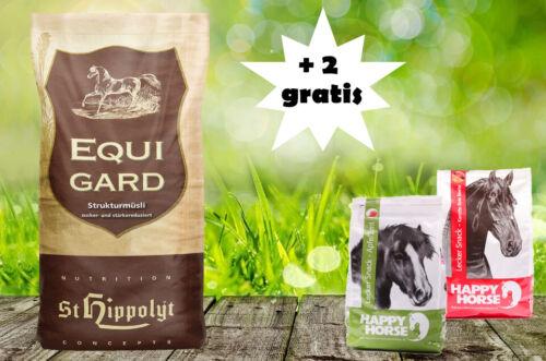 Equigard Müsli 20 kg und 2 x 1 kg Happy Horse Lecker Snack