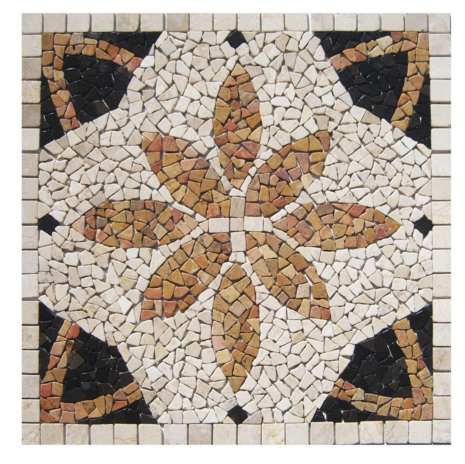 1 Marmor Mosaik Bild RO-005 - 90x90 cm Rosone - Mosaikfliesen Lager Herne NRW