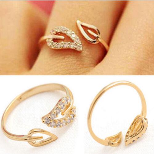 Elegant Korean Lady Gold Plated Crystal Rhinestone Leaf Finger Ring Jewelry Gift