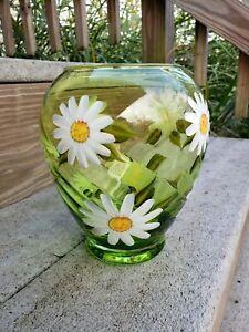 Teleflora-Green-Waved-Glass-Vase-Hand-Painted-Daisies