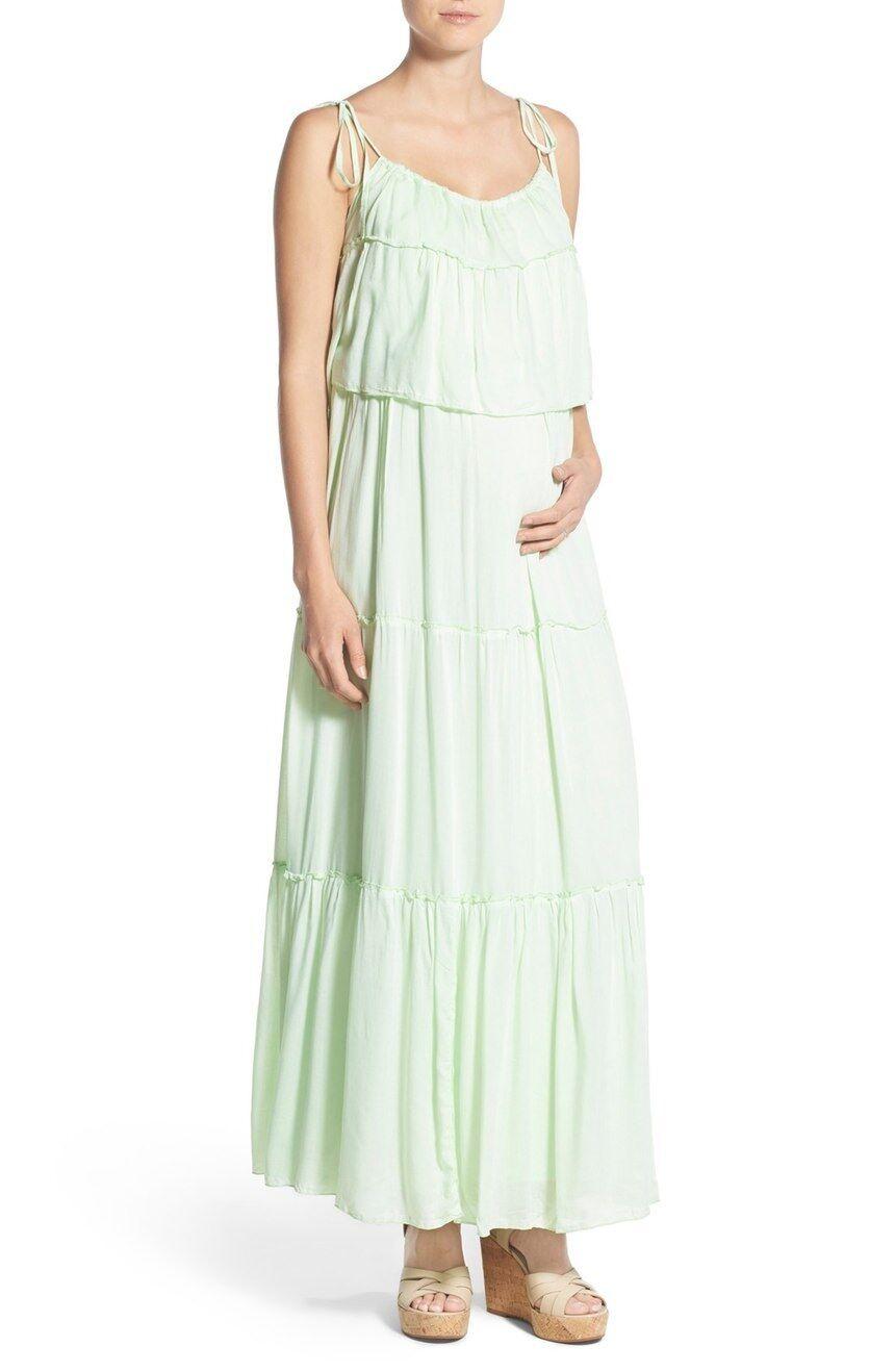 Fillyboo 'Songbird' Popover Maternity Nursing Maxi Dress in MINT (S) +