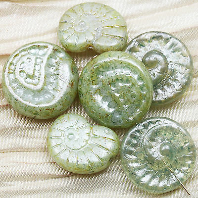 10pcs 16-18mm  FOSSILS PICASSO CHUNKY CZECH GLASS BEADS Pick your style