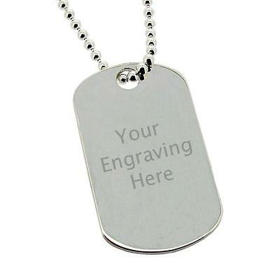 925 STERLING SILVER ARMY STYLE I.D DOG TAG WITH CUSTOM ENGRAVING & CHAIN OPTIONS