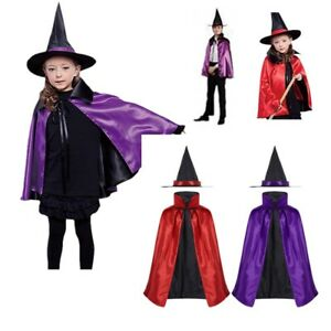 fa13b9032d9a6 Details about Boys Girls Witch Cloak Cape Costume Double Side Fancy Dress  Hat Outfit Halloween