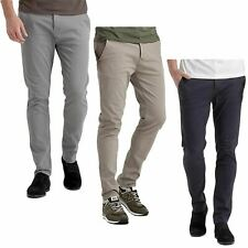 Mens Crosshatch Chino Jeans Slim Fit Pants Designer Straight Leg Tapered Trouser