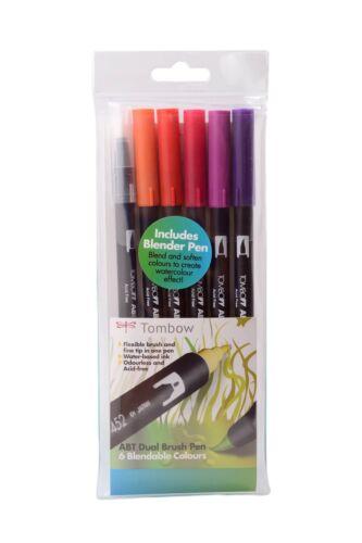 TOMBOW brosse Pen 6 couleur coucher de soleil fixer. double ended artiste & craft feutres