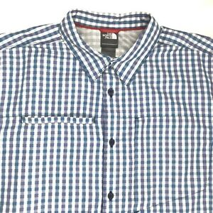 Generous North Face Mens Tekware Shirt Xl Plaid Blue Green Ss Bd Hiking Nylon Blend Guc Clothing, Shoes & Accessories